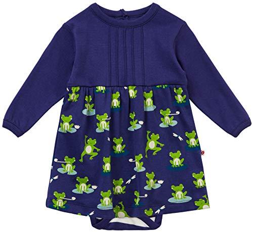 Piccalilly Robe pour bébé à manches longues en jersey de coton biologique doux Bleu marine grenouille - Bleu - 6-12 mois