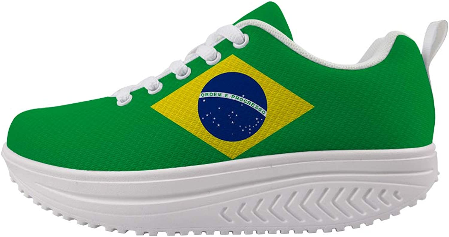 Owaheson Swing Platform Toning Fitness Casual Walking shoes Wedge Sneaker Women Brazil Flag