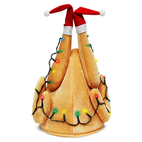 Evaliana Unisex Turkey Hat Light-Up Drumsticks Cap Christmas Costume Thanksgiving