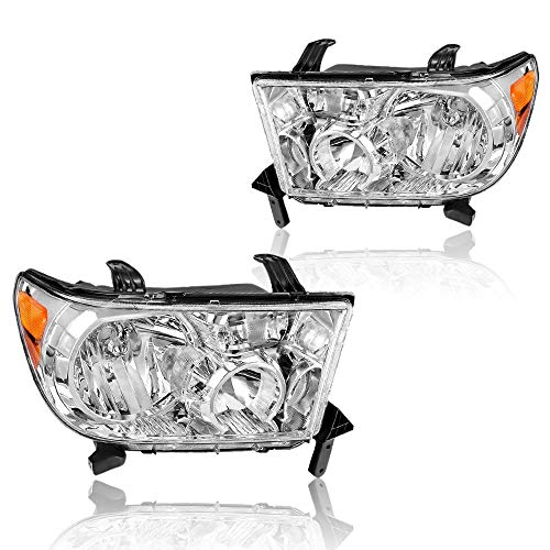 Headlights Assembly Compatible for 2007-2013 and 2008-2017 Sequoia Chrome Housing Amber Reflector Clear Lens with OE # 811500C050 811500C051 TO2502171 TO2503171