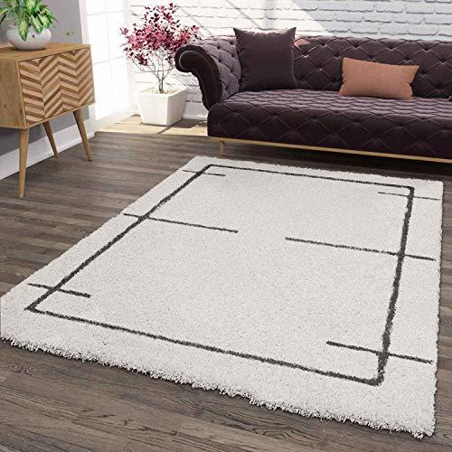 VIMODA Hochflor Teppich, Weicher Wohnzimmer Shaggy Skandinavischer Stil Raute, Maße:140x200 cm
