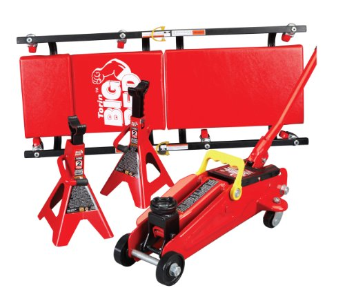 BIG RED T82040 Torin Hydraulic Trolley Floor Service/Floor Combo with 2 Jack Stands and Rolling Garage/Shop Creeper, 2 Ton (4,000 lb) Capacity