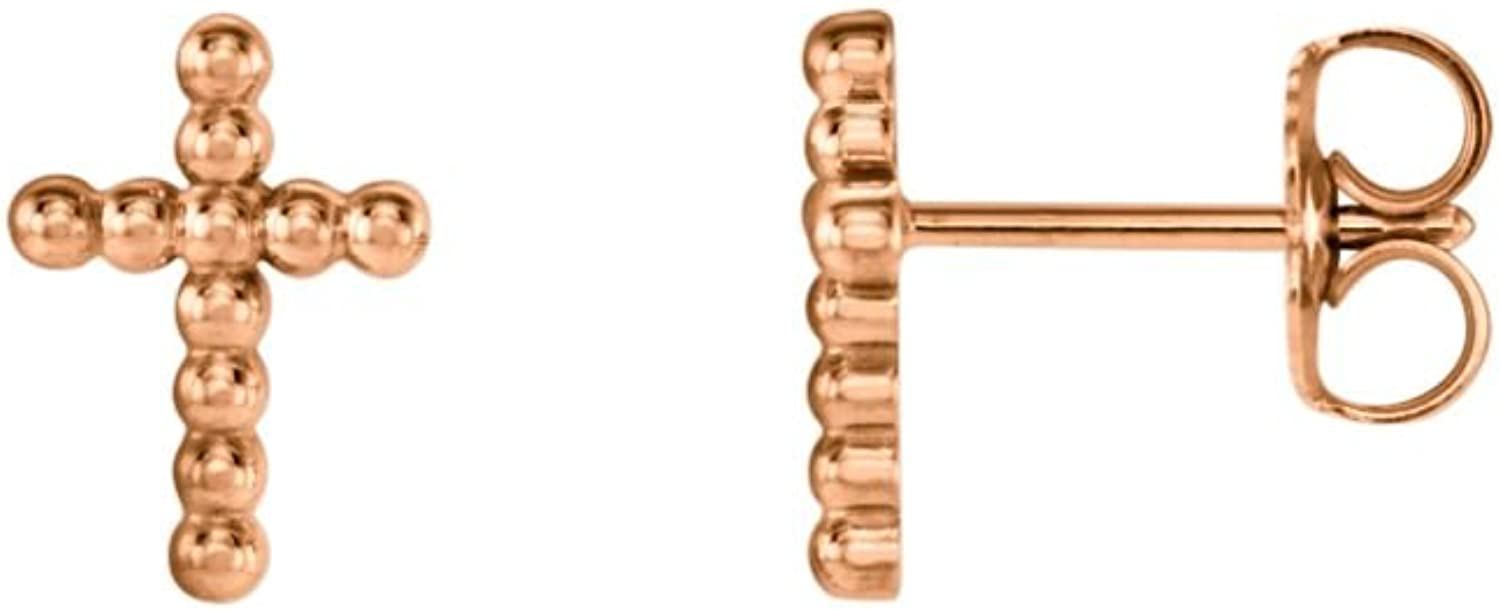 14kt pink Beaded Cross Earrings in 14k pink gold