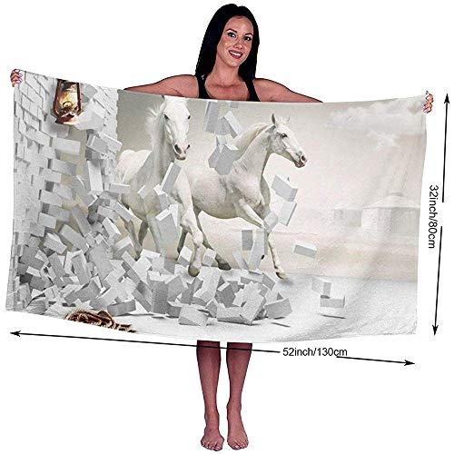 Yocmre badhanddoek paarden brak door de muur bedrukt microvezel strand/zwembad/bad handdoek voor Unisex 130 * 80cm (52x32 inch)