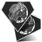 Impresionante pegatinas de diamante de 7,5 cm BW – Yin Yang Tiger Dragon chino Karate divertido calcomanías para portátiles, tabletas, equipaje, libros de chatarra, frigorífico, regalo genial #40037