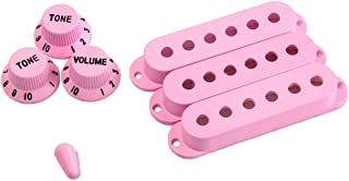 Artibetter Strat Guitar Pickup Covers Knobs Switch Tip Set for Replacement Accessory Kit (Light Pink)