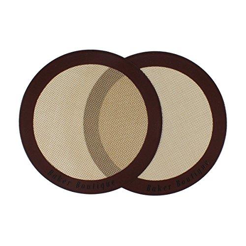 Baker Boutique Silikon-Backmatten-Set, 2-teilig (rund, 22,9 cm Durchmesser), antihaftbeschichtet, Wiederverwendbare Mehrzweck-Matte