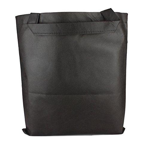 10er Pack Einkaufstasche Vliestasche Günstige Tragetasche kurze Henkel in Black Größe: ca. 38 x 42 cm
