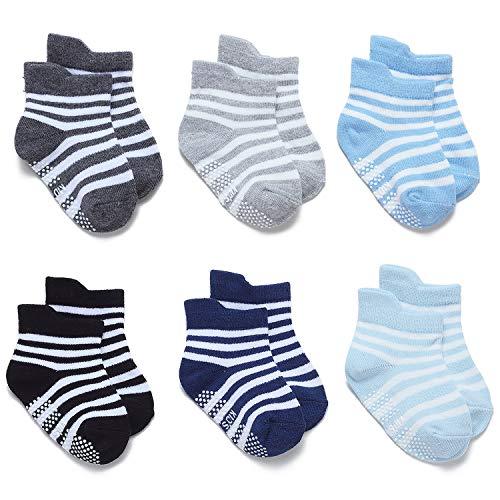 Adorel Calcetines Antideslizantes Cortos para Bebé Niños 6 Pares Raya 1-2 Años (Tamaño del Fabricante M)