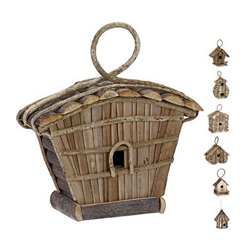 Relaxdays, Nature Maison d'oiseau déco à accrocher, maisonnette Bois Non travaillé, nid, pour Balcon, terrasse,Jardin Designs