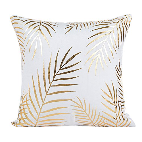 SHOBDW Schick Goldfolie Brief Blätter Kissenbezug Sofa Taille Wurf Kissenbezug Exquisit Auto Home Decor Kissenbezüge Pilloe Cover Cushion Case