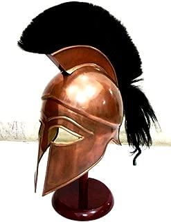 THORINSTRUMENTS (with device) Medieval Greek Spartan Corinthian Helmet with Black Plume Ancient Armour Helmet Replica