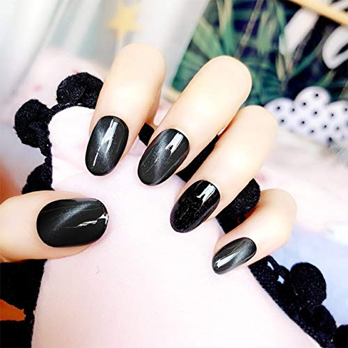rpbll 24pcs/box with 2g glue designed Glitter False Nails press on Popular Black Pretty Cat Eye Beauty Artificial Nail tips Stickers as show