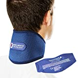 Sports Laboratory Collarín Cervical Pro+ para el Alivio del Dolor de Cuello, Bolsa De Gel Reutilizable para Integrado Terapia Frío y Calor, Ajustable, Guía Gratuita para el Dolor Cervical
