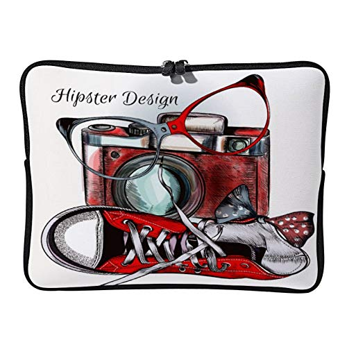 Laptop Sleeve Bag Notebook Computer PC Neoprene Protection Zipper Case Cover Hipster Background with Camera and Sneakers Be Hip White-color5 15inch