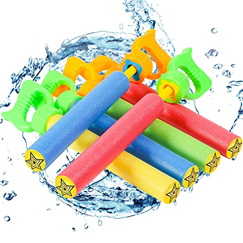 """Lucky Doug 6 PCS Foam Water Guns Set for Kids, 13.2"""" Water Squirt Guns Blaster Pool Toys for Kids Shooter Swimming Pool Party Outdoor Beach Sand Fighting"""