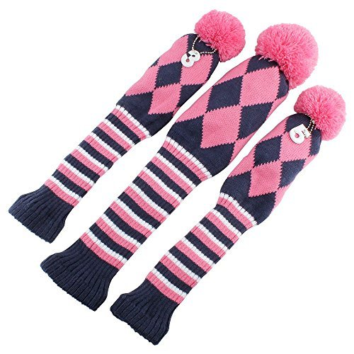 Craftsman Golf Knit 3pcs Headcover Set Vintange Pom Pom Sock Covers 1-3-5 Pink & White New