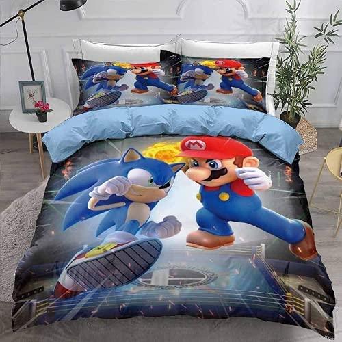 Sonic The Hedgehog Juego de ropa de cama con impresión 3D, 100% microfibra suave y agradable, con cremallera, incluye 1 funda nórdica y 2 fundas de almohada (A5, 135 x 200 cm + 50 x 75 cm x 2)