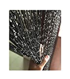Eyotool 1x2 M Door String Curtain Rare Flat Silver Ribbon Thread Fringe Window Panel Room Divider Cute Strip Tassel for Wedding Coffee House Restaurant Parts, Black