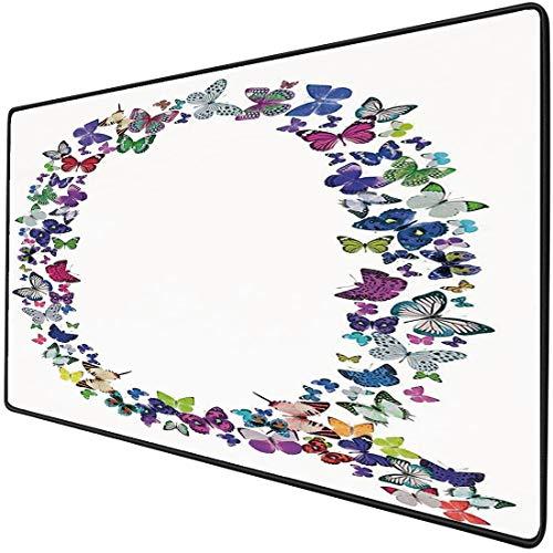 Mauspad-Spielfunktion Buchstabe Q Dicke wasserdichte Desktop-Mausmatte Frühlings-Natur inspirierte Schriftart-Design-Mädchen-Kindernamen-Initialen-spielerische Wanzen-Flügel,mehrfarbigRutschfeste Gum