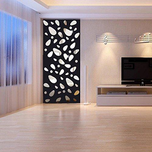 Ouneed® Acrylic Mirror Stiker Design DIY Maison Decor Traveaux (12pcs, Noir)