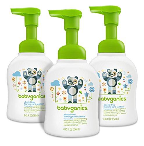 Babyganics Alcohol-Free Foaming Hand Sanitizer, Pump Bottle, Fragrance Free, 8.45 oz, 3 Pack, Packaging May Vary