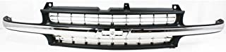 Grille for Chevrolet Silverado 99-02 Suburban/Tahoe 00-06 Cross Bar Insert Plastic Painted-Black W/Chrome Center Bar