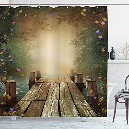 """Ambesonne Spring Shower Curtain, Coming of The Spring Themed Lake and Blooming Flowers Illustration with Wooden Pier, Cloth Fabric Bathroom Decor Set with Hooks, 70"""" Long, Teal"""