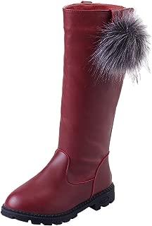 Girl's Waterproof Pom Pom Hairball Back Zipper Fur Tall Riding Boots (Toddler/Little Kid/Big Kid)