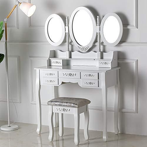 Amerlife Schminktisch, Kosmetiktisch mit Hocker, 3 Spiegel und 7 Schubladen ideal für Damen & Teenager & Mädchen, Weiß