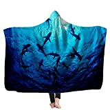 Fullentiart Beautiful Sea Ocean Sharks Hood Blanket Adult Warm Hooded Blanket for Women Men and Children Suitable for Sofas Beds Travel 60X80Inches Blue Hooded Blanket