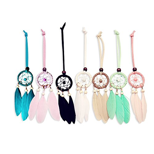 "YGMONER Mini Dream Catcher 7pcs Set - Car Interior Rearview Mirror Dangle Bag Pendant Charm 1.2"" Diameter and 9"" Long"