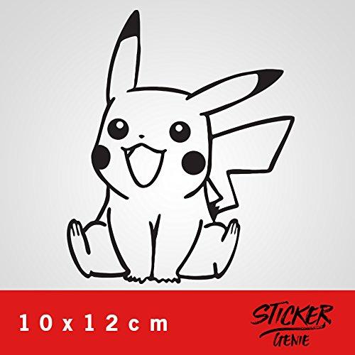 Pikachu Aufkleber Auto Sticker Autosticker Autoaufkleber Decal Pokemon (10 x 12 cm, Schwarz)