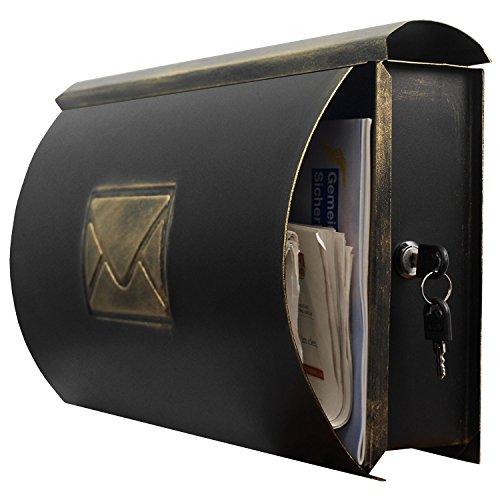 Wand Briefkasten Wandbriefkasten Postkasten Mailbox mit Zeitungsrolle Zeitungsfach Zeitungsbox/Gold