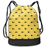 Sac à Dos à Cordon Sports Polyester Drawstring Sack Yellow Bees Rucksack Lightweight for Traveling Soccer Baseball Bag Large for Yoga Camping Runner