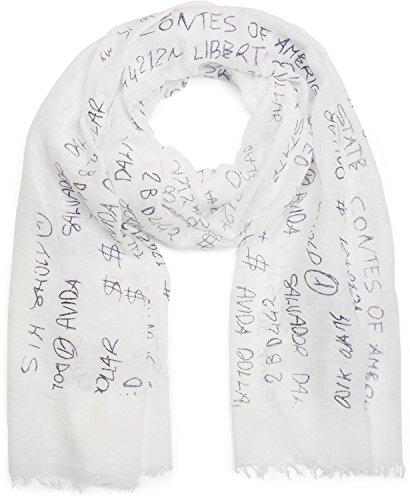 styleBREAKER unifarbener Schal mit Glitzer Metallic Schrift und Fransen, Tuch, Damen 01016151, Farbe:Weiß