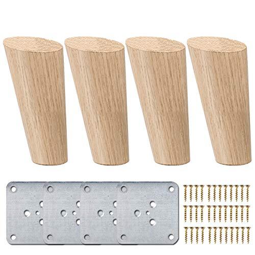 15cm Holz Tischbeine, La Vane 4 Stück Massivholz Schräg Konisch Ersatz Möbelfüße Möbelbeine mit Montageplatten & Schrauben für Sofa Bett Schrank Couch Stuhl