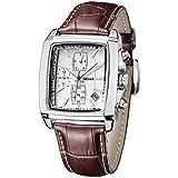 Relojes para Hombre Moderno, Reloj Rectángulo Blanca, Relojes Militar Cuero Marrón con Calendario Reloj de Pulsera de Cuarzo para Hombres, Resistente al Agua
