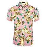 CATERTO Men's Pineapple Prints Casual Short Sleeve Aloha Hawaiian Shirt Pink XL