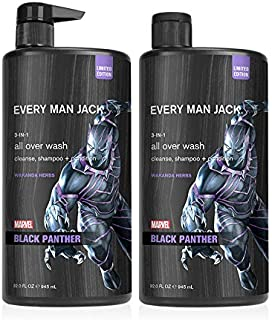 Every Man Jack All Over Wash - Marvel Black Panther | 32-ounce Twin Pack - 2 Bottles Included | Naturally Derived, Paraben...