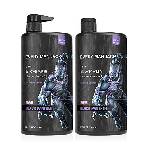 Every Man Jack All Over Wash - Marvel Black Panther | 32-ounce Twin Pack - 2 Bottles Included | Naturally Derived, Parabens-free, Pthalate-free, Dye-free, and Certified Cruelty Free