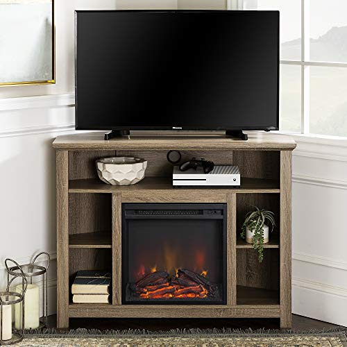 Walker Edison Woodcroft Classic Fireplace Corner Stand for TVs up to 50 Inches, 44 Inch, Driftwood
