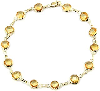 14k Yellow Gold Handmade Bracelet with Round 6mm Citrine Gemstones
