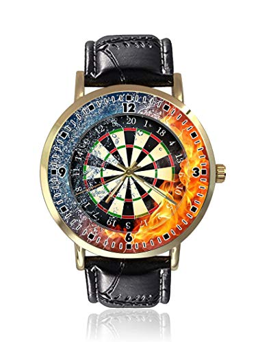 Darts Board Fire Water Damen Herren Uhren Fashion Unisex Leder Casual Quarz Armbanduhr