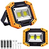 USB Rechargeable work light, COB 30W 1500LM LED Portable light 2 Pack, 3 Lighting Modes, 180° Angle Adjustment, Waterproof Floodlight for Car Maintenance, Camping, Travel, Night Fishing, Running