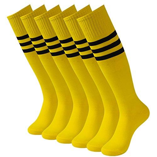 3street Baseball Soccer Socks, Unisex Sport Sweat-Absorbent Knee High Sport Athletic Football Soccer Softball Socks Navy 2-Pairs,7-13