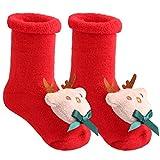Aitsite Unisex Babysocken Weihnachten Socken Stricksocke Herbst und Winter Krabbelsöckchen Hausschuhe Baumwolle Bunt Elastisch Weich rot