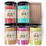 Greendoso-Sucre Barbe à Papa pour Machine (5X350 Gr) = 1,750 KG (Arômes et Colorants Naturels) Fraise-Cola-Pomme-Marshmallow-Vanille + 50 Bâtonnets de 30 Cm Réutilisables (Offerts)+1 Cuillère Mesure