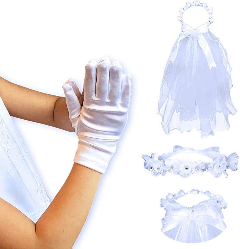 First Communion Bundle | Glove and Floral Pearl Veil Set | Catholic Girls Accessory Kit | Christian Apparel
