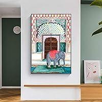 アフリカゾウ北欧のポスターと版画動物の壁アートキャンバス絵画リビングルームの家の装飾のための壁の写真-50x70cmフレームなし